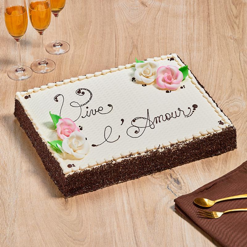 Gâteau personnalisé avec inscription vanille, noisette, chocolat ou noix de coco - pâtisserie La Romainville
