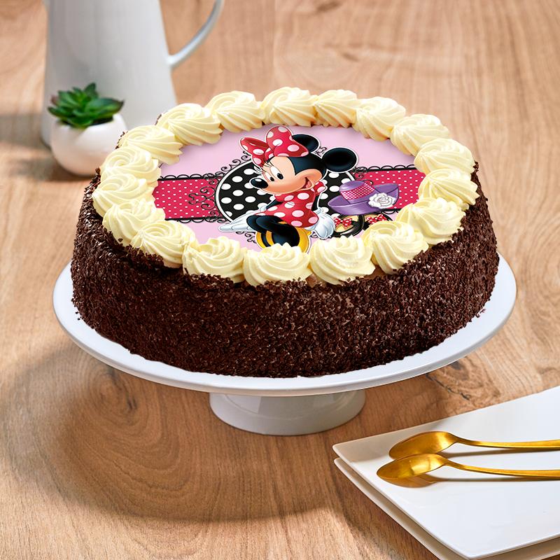 Gâteau au chocolat ou vanille Minnie Disney - Anniversaire enfant  - Pâtisserie La Romainville