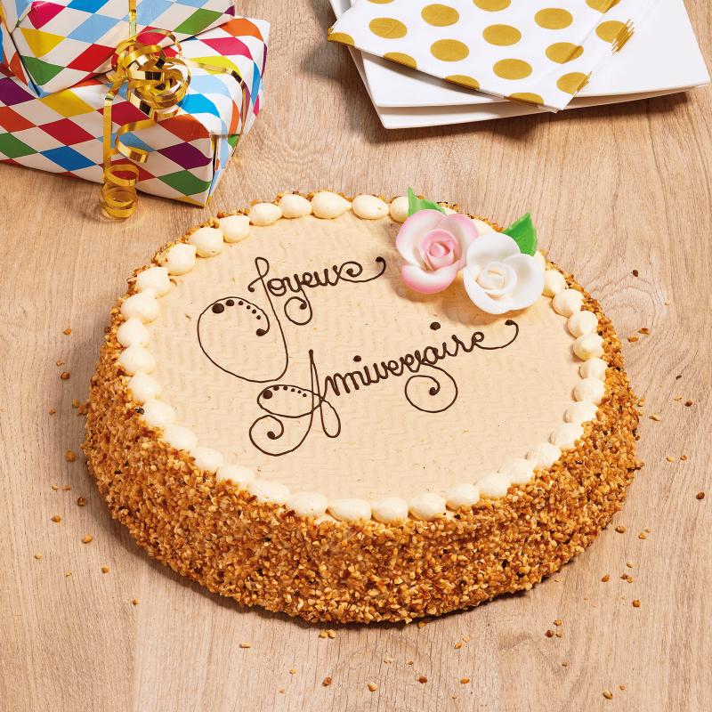 Gateau personnalisé avec inscription - chocolat, vanille ou noisette - pâtisserie La Romainville
