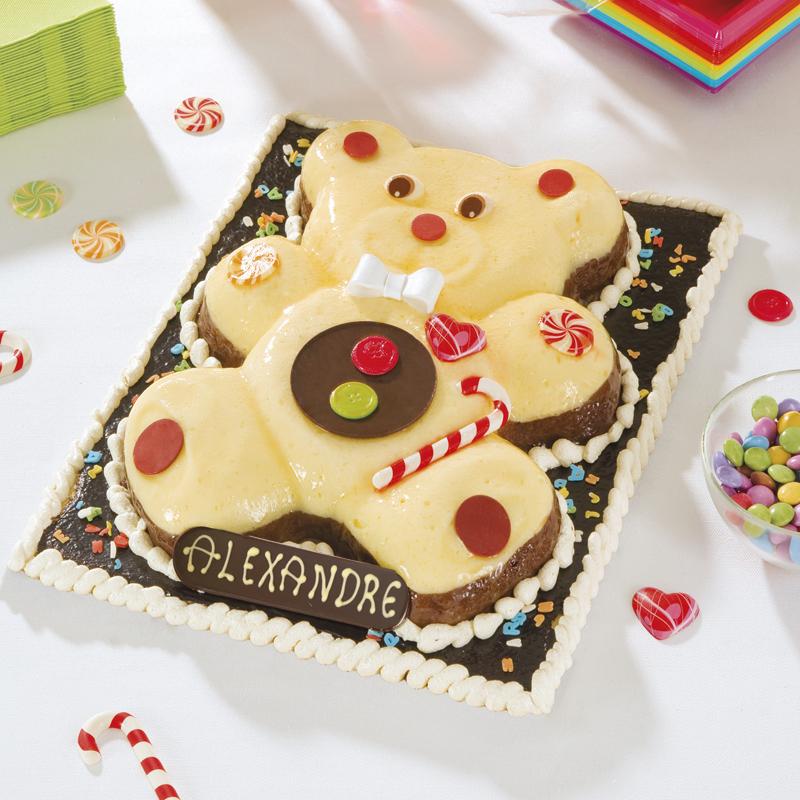 Gâteau ourson mousse vanille/chocolat - anniversaire enfant - Pâtisserie La Romainville