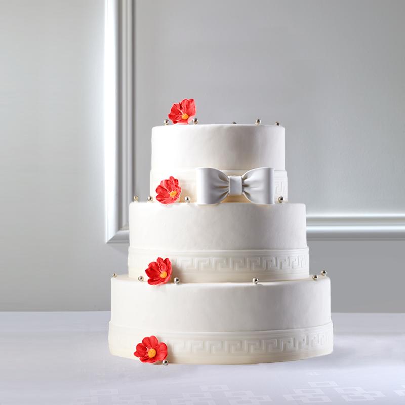 Wedding Cake champêtre à fleurs rouges La Romainville Pièce Montée