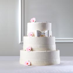 Wedding Cake champêtre à fleurs roses pastel La Romainville Pièce Montée