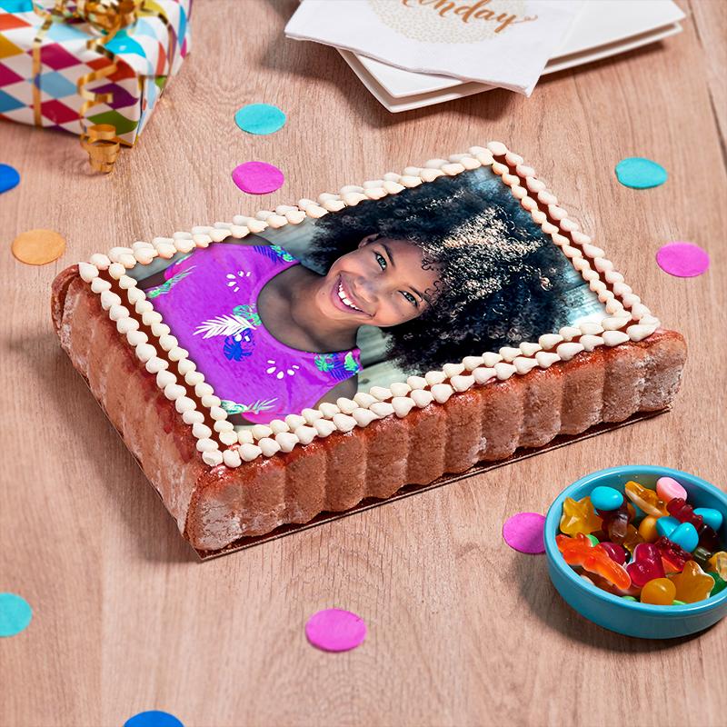 Charlotte personnalisée - aux fraises, poire ou poire/chocolat  - gâteau photo - Pâtisserie La Romainville