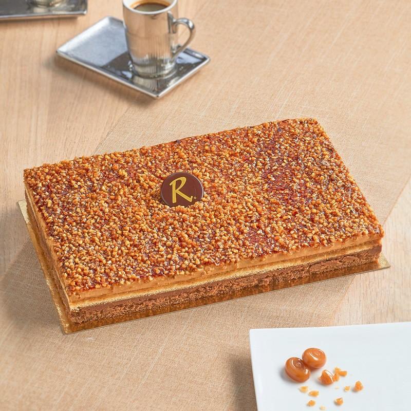 Croquant Caramel - Magnifique gâteau au croquant chocolat au lait et bavaroise caramel - Pâtisserie La Romainville