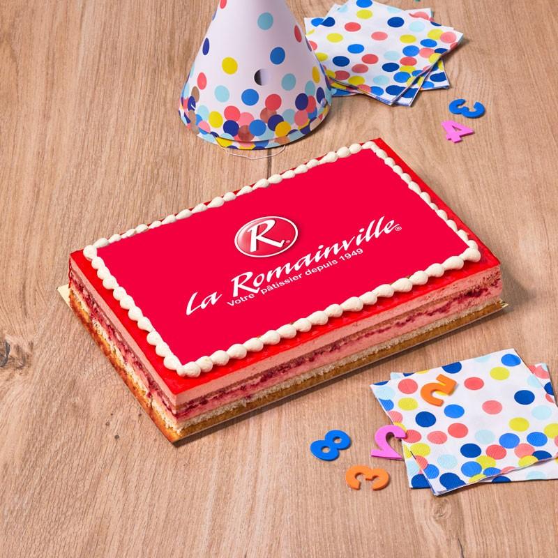 Framboisine logo - personnalisez ce bon gâteau avec le logo ou la photo de votre choix