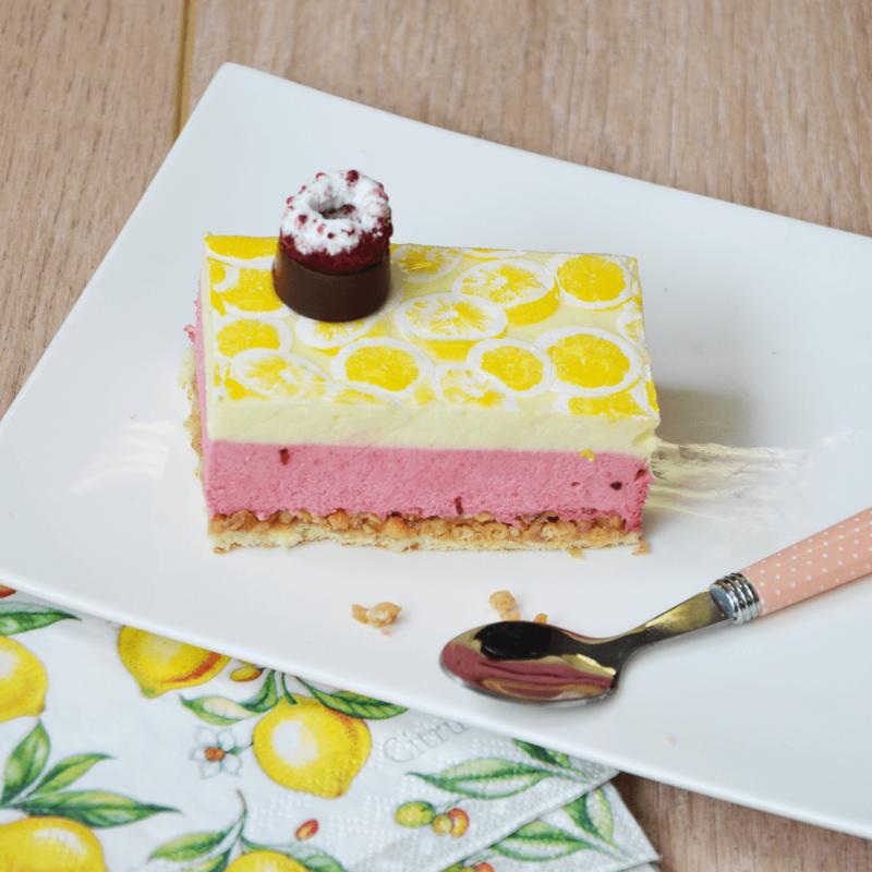 Nouveauté citron framboise - pâtisserie La Romainville - un dessert frais et acidulé