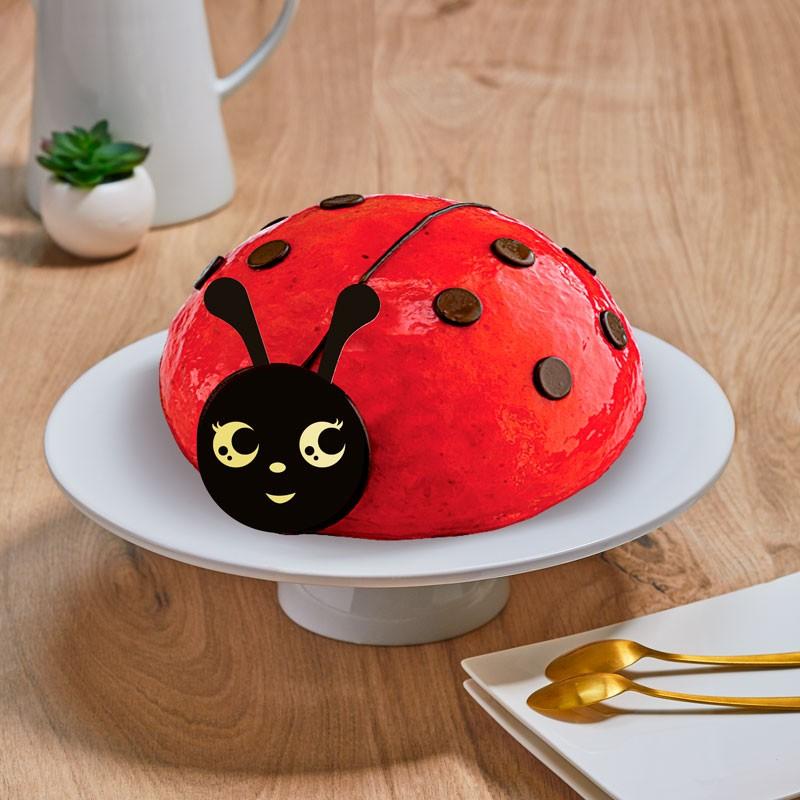 Gâteau coccinelle - Mousse framboise - parfait pour un anniversaire d'enfant - La Romainville